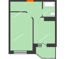 1 комнатная квартира 38,5 м² в ЖК Ромашково, дом Позиция 2 - планировка