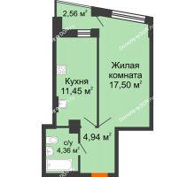 1 комнатная квартира 39,53 м² в ЖК Рубин, дом Литер 3 - планировка