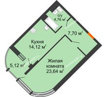 1 комнатная квартира 52,78 м² в ЖК Краснодар Сити, дом Литер 3 - планировка
