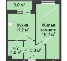 1 комнатная квартира 41,7 м², Жилой дом: ул. Страж Революции - планировка