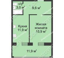 1 комнатная квартира 53,1 м² в ЖК Славянский квартал, дом № 188 - планировка