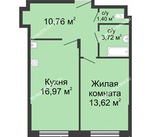 1 комнатная квартира 46,47 м² в ЖК Клевер, дом № 2
