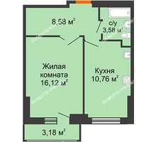 1 комнатная квартира 40,63 м², ЖК Орбита - планировка
