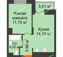 1 комнатная квартира 35,25 м² в ЖК КМ Анкудиновский парк, дом № 16 - планировка