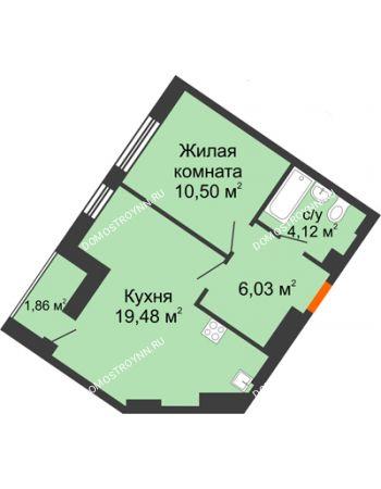 1 комнатная квартира 41,99 м² - ЖК Пушкин