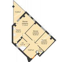 2 комнатная квартира 81,43 м², Клубный дом ГРАН-ПРИ - планировка