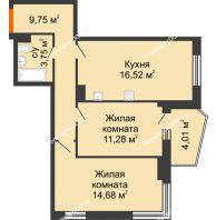 2 комнатная квартира 58,29 м² в ЖК Сердце Ростова 2, дом Литер 1 - планировка