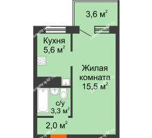 1 комнатная квартира 27,5 м² в ЖК Серебряный, дом Квартал 1, дом №3 - планировка
