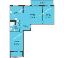 3 комнатная квартира 129,33 м², ЖК Адмирал - планировка